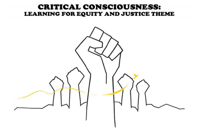 "raised fists logo with title ""Critical Consciousness: learning for equity and justice theme"""